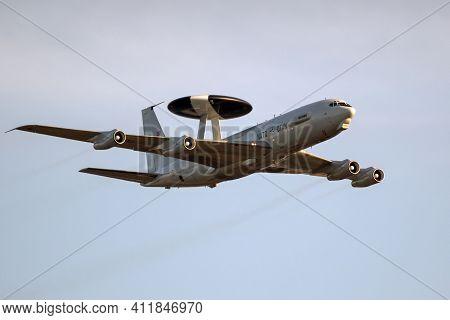 Sanicole, Belgium - Sep 13, 2019: Nato Boeing E-3 Sentry Awacs Radar Plane Performing A Low-pass At