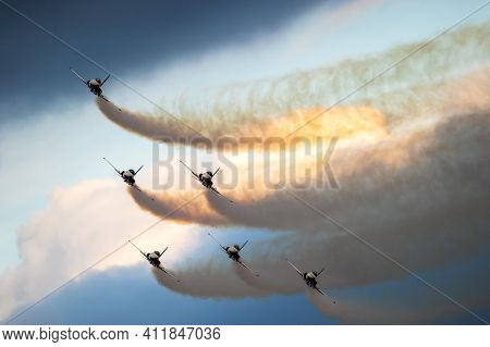 Patrouille Suisse Aerobatic Team Northrop F-5e Tiger Ii Fighter Jets Performing. Belgian - September