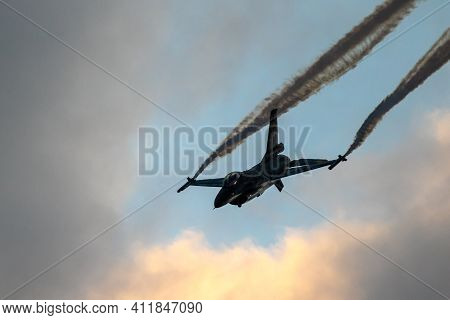 Sanicole, Belgium - Sep 13, 2019: Belgian Air Force F-16 Fighter Jet During A Flight Demonstration A