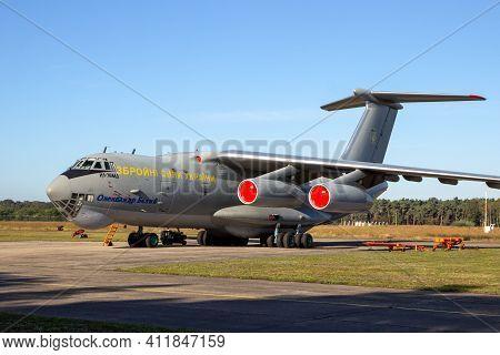Kleine-brogel, Belgium - Sep 14, 2019: Ukrainian Air Force Ilyushin Il-76 Transport Plane In The Tar