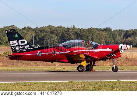 Belgian Air Force Siai-marchetti Sf.260 Trainer Plane On The Tarmac Of Kleine-brogel Airbase. Septem