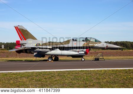Kleine-brogel, Belgium - Sep 14, 2019: Norwegian Air Force F-16 In The Colors Of A Ww2 Spitfire On T