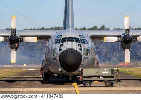 Lockheed C-130 Hercules From The Belgian Air Force On The Tarmac Of Kleine-brogel Airbase. Belgium -
