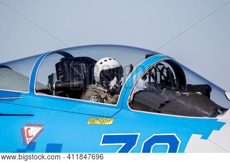 Close Up Of A Pilot In The Cockpit Of A Sukhoi Su-27 Flanker Fighter Jet Aircraft At Kleine-brogel A