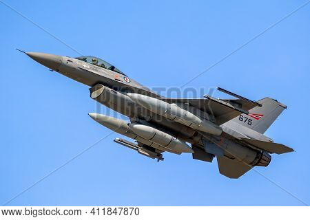 Royal Norwegian Air Force F-16 Viper Fighter Jet In Flight. Belgium, September 14, 2019