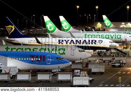 Eindhoven, The Netherlands - Oct 14, 2019: Night View Of Low-budget Airlines Ryanair And Transavia A