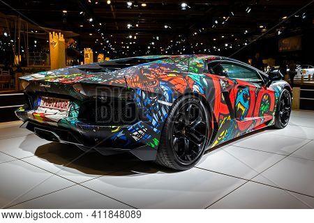 Pog Lamborghini Aventador Hypercar At The Autosalon 2020 Motor Show. Brussels, Belgium - January 9,