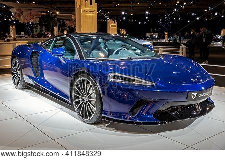 Mclaren Gt Sports Car At The Autosalon 2020 Motor Show. Brussels, Belgium - January 9, 2020.