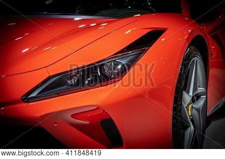 Ferrari F8 Tributo Sports Car At The Autosalon 2020 Motor Show. Brussels, Belgium - January 9, 2020.
