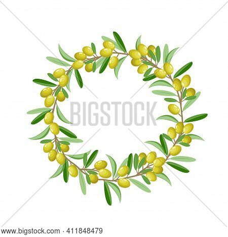 Olive Wreath, Olive Branch Isolated On White Background, Vector Illustration Of Kotinos. Green Olive