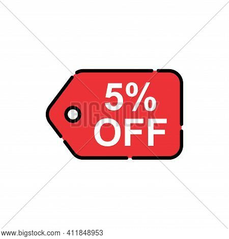5% Sale Tag Vector Badge Template, 5% Sale Label Collection, Clearance Sale Sticker Emblem, Bargain