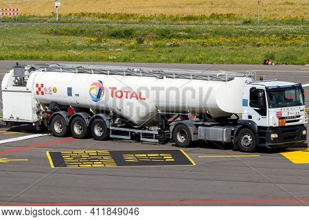 Mobile Kerosine Refueling Vehicle Driving On The Tarmac Of Eindhoven Airport. The Netherlands - June
