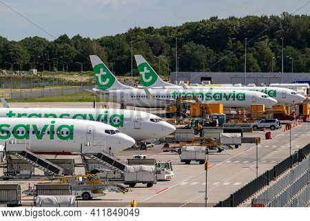Transavia Low-cost Airline Passenger Planes On The Tarmac Of Eindhoven Airport. The Netherlands - Oc