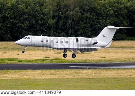 Royal Netherlands Air Force Gulfstream Iv Twinjet Aircraft From 334 Squadron Landing At Eindhoven Ai