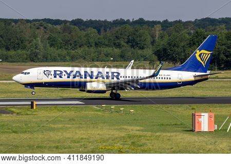 Ryanair Boeing 737 Passenger Jet Landing On Eindhoven Airport. The Netherlands - July 2, 2020