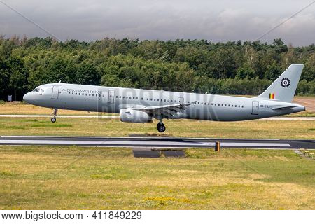 Belgian Air Force Airbus A321 Passenger Plane Arriving At Eindhoven Airport. The Netherlands - July