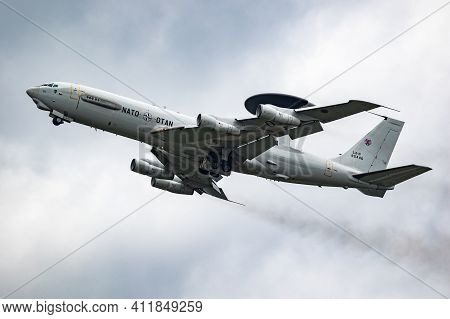 Nato Boeing E-3 Sentry Awacs Radar Plane Performing A Low-pass At The Eindhoven Airbase.  The Nether