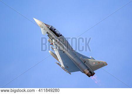 German Air Force Eurofighter Typhoon Fighter Jet In Flight. Norvenich, Germany - August 27, 2020