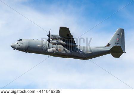 Israeli Air Force Lockheed C-130 Hercules Military Transport Plane In Flight. Germany - August 27, 2