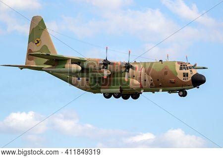 Israeli Air Force Lockheed C-130 Hercules Military Transport Plane Landing At Norvenich Airbase. Ger