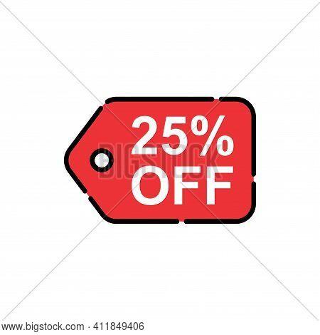 25% Sale Tag Vector Badge Template, 25% Sale Label Collection, Clearance Sale Sticker Emblem, Bargai