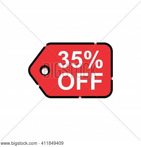 35% Sale Tag Vector Badge Template, 35% Sale Label Collection, Clearance Sale Sticker Emblem, Bargai