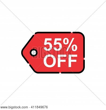 55% Sale Tag Vector Badge Template, 55% Sale Label Collection, Clearance Sale Sticker Emblem, Bargai