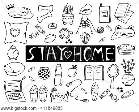 Set Of Cute Hand Drawn Elements On The Subject Of Stay At Home Isolated On A White Background. Doodl