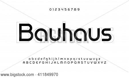 Awesome Bauhaus Alphabet. Modern Futuristic Font, Techno Style Letters. Lowercase, Uppercase And Num