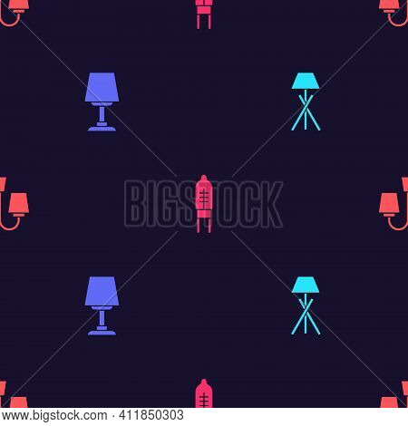 Set Floor Lamp, Table, Light Emitting Diode And Chandelier On Seamless Pattern. Vector