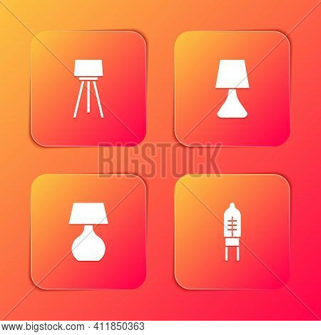 Set Floor Lamp, Table, And Light Emitting Diode Icon. Vector