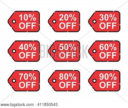 Set Of Sale Tag Vector Badge Template, 10%, 20%, 30%, 40%, 50%, 60%, 70%, 80% And 90% Sale Label Col