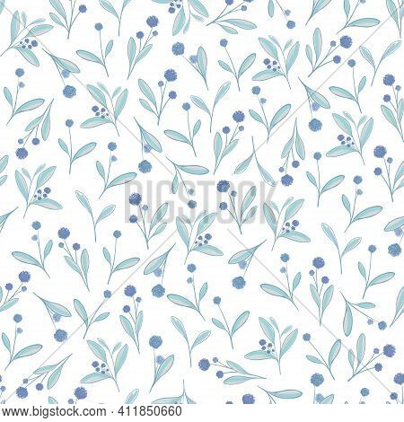 Delicate Floral Vector Pattern. Delicate Mint-colored Flowers With Lilac Flowers Or Berries.