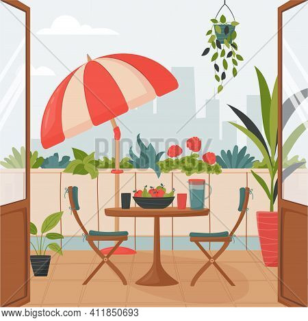 Cozy Summer Balcony With Parasol, Small Table, Chair And Pots Of Flowers. Summer Time Idyllic Seatin