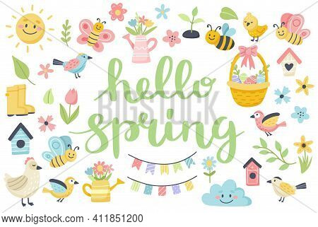 Hello Spring Lettering With Cute Birds, Bees, Flowers, Butterflies. Hand Drawn Flat Cartoon Elements