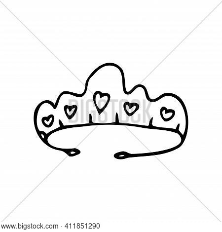 Hand Drawn Tiara With Hearts Isolated On A White Background. Doodle, Simple Outline Illustration. It