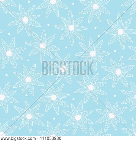 Vector Seamless Pattern With Simple White Flowers On Blue Background. For Decoration, Invitation, Fa