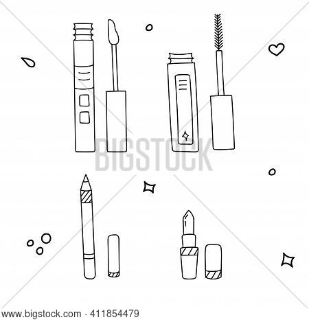 Hand Drawn Vector About Beauty Care And Cosmetics