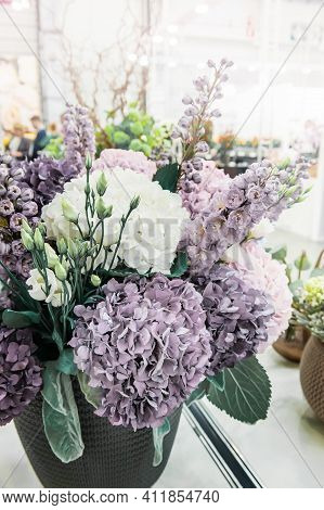 Beautiful Bouquet Of Ready-made Flowers. Colorful Different Types Of Flowers Are Collected In Huge B