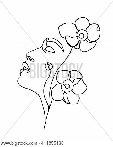 Beauty Face With Flowers Line Drawing Art. Abstract Minimal Portrait Continuous Line. - Vector Illus