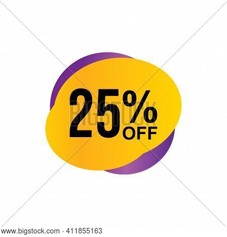 25% Sale Tag Vector Badge Template, 25% Sale Label Collection, Clearance Sale Sticker Emblem, Bargai