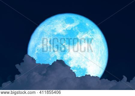 Super Harvest Blue Moon And Silhouette  Cloud On Night Sky