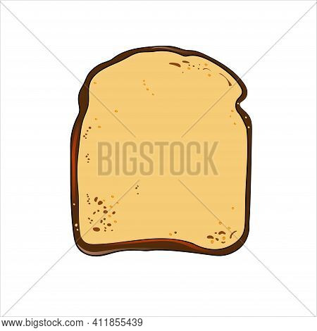 Slice Of Bread, Toast, Top View. Vector Illustration.