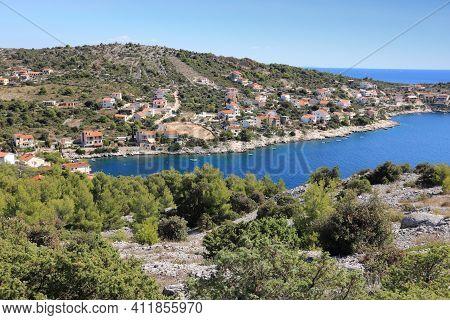Croatian Town. Razanj Town In Dalmatia - Beautiful Mediterranean Coast Landscape In Croatia. Adriati