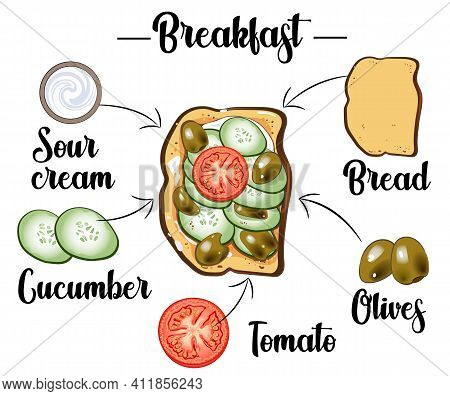 Toast With With Cucumber, Pepper, Tomato, Sour Cream And Olives, Ingredients Of The Toast, Recipe