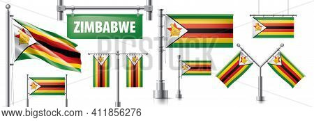 Vector Set Of The National Flag Of Zimbabwe In Various Creative Designs