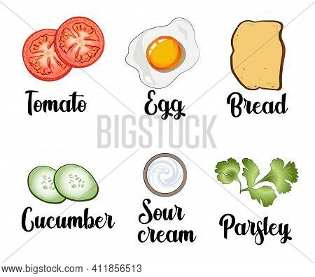 A Set Of Ingredients Consisting Of Scrambled Egg, Toast, Tomatoes, Cucumbers, Sour Cream And Parsley