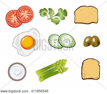Set Of Ingredients Consisting Of Omelette, Asparagus, Toast, Tomatoes, Cucumbers, Olives, Sour Cream