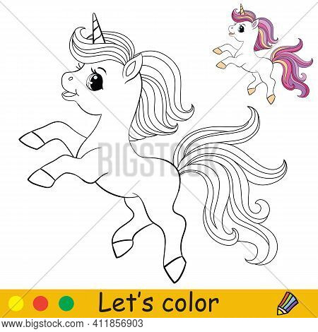 Cute Unicorn With Purple Long Mane. Coloring Book Page With Colorful Template. Vector Cartoon Illust