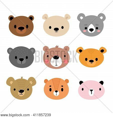 Adorable Bears. Set Of Cute Cartoon Animals Portraits. Fits For Designing Baby Clothes. Hand Drawn S